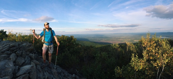 Brandon strikes a pose as the tallest man in Connecticut on the states highest point, Bear Mtn.